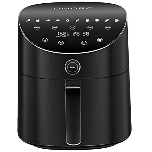 OMORC Air Fryer, 6 Quart, 1800W Fast Large Hot Air Fryers & Oilless Cooker w/Presets, LED Touchscreen(for Wet Finger)/Roast/Bake/Keep Warm, Dishwasher Safe, Nonstick,2-Year