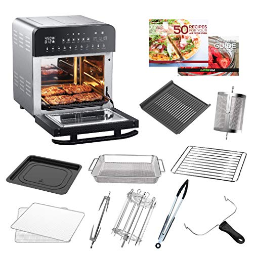 GoWISE USA GW44805 14.7-Quart Ultimate Air Fryer Oven Grill with Dual Heating Elements & Cast Aluminum Plate + 10 Accessories and 2 Recipe Books (Stainless Steel/Black)